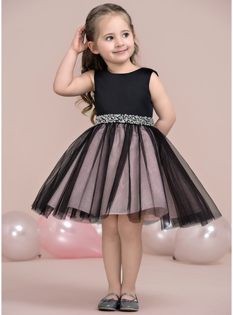 A-Line/Princess Knee-length Flower Girl Dress - Satin/Tulle Sleeveless Scoop Neck With Beading