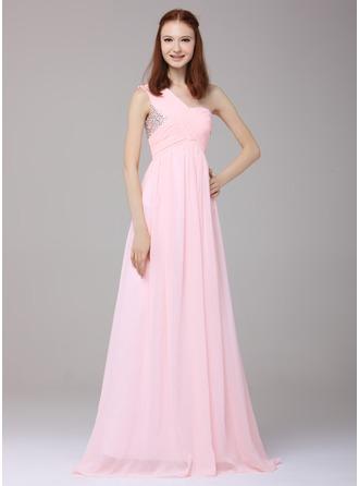 A-Linie/Princess-Linie Eine Schulter Bodenlang Chiffon Festliche Kleid mit Rüschen Perlstickerei Pailletten