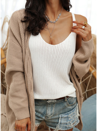Casual Solid Cable-knit Pocket Waffle Knit Sweaters