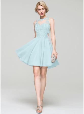 A-Line/Princess Scoop Neck Short/Mini Chiffon Homecoming Dress