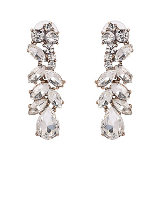 Ladies' Vintage Coloured Glaze Rhinestone Earrings For Bride