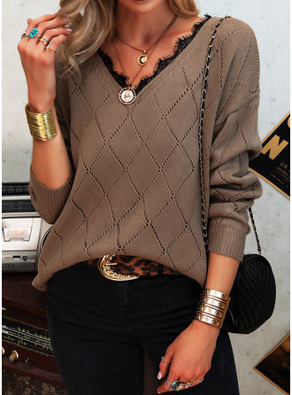 V-Ausschnitt Lässige Kleidung Spitze Pullover
