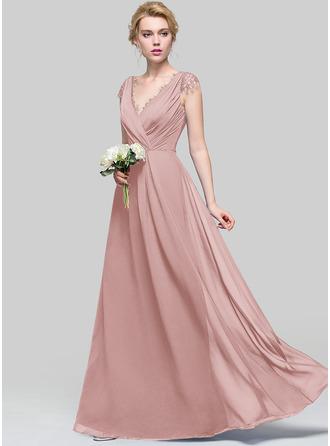 Çan/Prenses V yaka Uzun Etekli Şifon Nedime Elbisesi Ile Büzgü