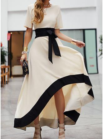 Цветной блок A-линии С коротким рукавом асимметричный партия элегантный Конькобежец Модные платья