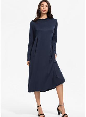Solid Shift Long Sleeves Maxi Midi Casual Dresses