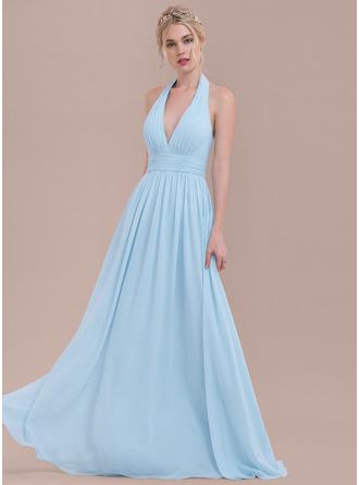 A-linjainen/Prinsessa Niskalenkillä Lattiaa hipova pituus Sifonki Morsiusneitojen mekko jossa Rypytys
