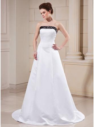 Corte A/Princesa Estrapless Cola corte Satén Vestido de novia con Fajas Bordado