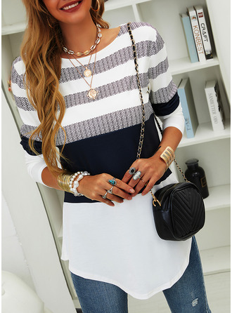 Color Block Striped Round Neck Long Sleeves Casual Blouses (1003255121)