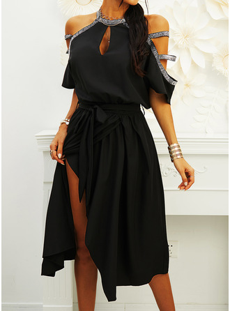 Sequins Solid A-line Cold Shoulder Sleeve Short Sleeves Midi Little Black Party Skater Dresses