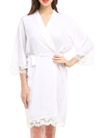 Bride Bridesmaid Lace Cotton With Knee-Length Satin & Lace Robes