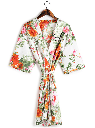 Personalized Charmeuse Bride Bridesmaid Mom Junior Bridesmaid Floral Robes Embroidered Robes