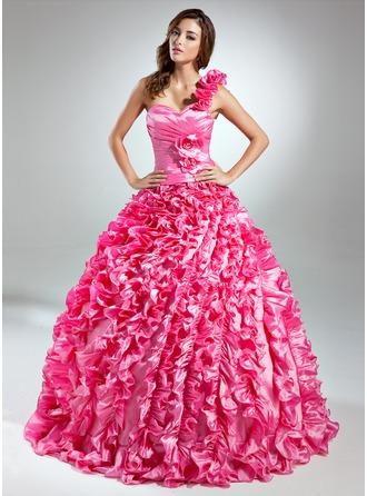 Duchesse-Linie One-Shoulder-Träger Bodenlang Taft Quinceañera Kleid (Kleid für die Geburtstagsfeier) mit Perlen verziert Blumen Gestufte Rüschen