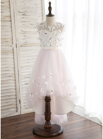 A-Line/Princess Asymmetrical Flower Girl Dress - Satin/Tulle Sleeveless Scoop Neck With Flower(s)