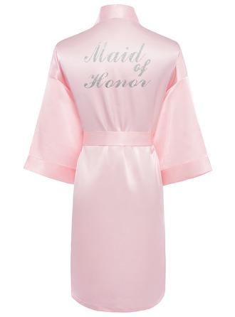Personalizado charmeuse Novia Dama de honor Mamá Batas con estampado de purpurina