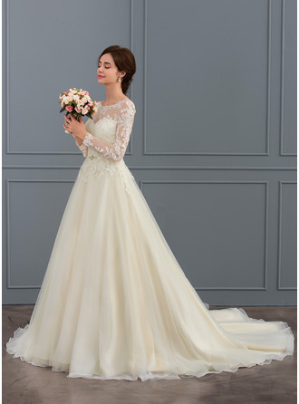 Ball-Gown Scoop Neck Court Train Tulle Lace Wedding Dress With Beading Sequins