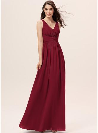 A-Line V-neck Floor-Length Chiffon Bridesmaid Dress With Ruffle