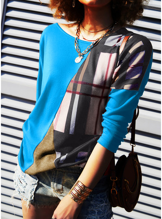 Color Block Print Cold Shoulder Long Sleeves Casual Blouses