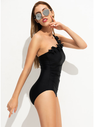 One-piece Chinlon Polyester Solid Color Women's Yes Swimwear