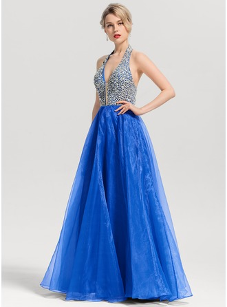 A-Line/Princess V-neck Floor-Length Organza Prom Dresses With Beading Sequins
