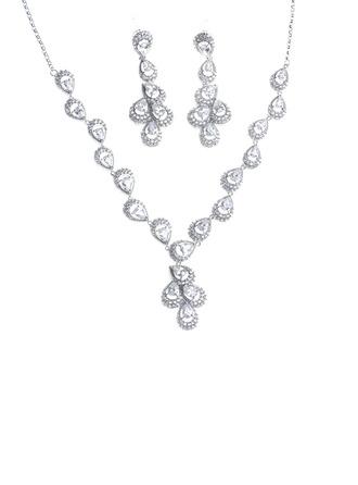 Senhoras Elegante Cobre/Platinadas com Pêra Zirconia cúbico Conjuntos de jóias Ela/Amigos