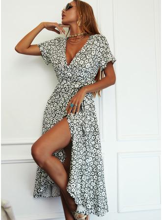 Blomstrete Trykk A-line kjole Kortermer Midi Avslappet Elegant skater Wrap Motekjoler