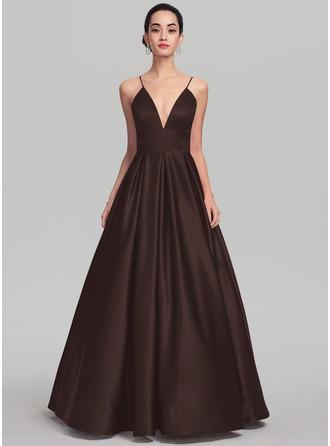 Ball-Gown/Princess V-neck Floor-Length Satin Prom Dresses