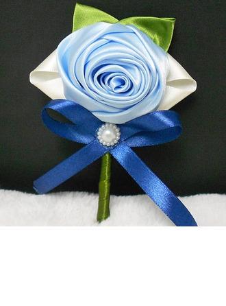 Elegant Round Ribbon/Artificial Silk Boutonniere/Men's Accessories