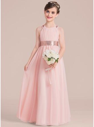 Forme Princesse Longueur ras du sol Robes à Fleurs pour Filles - Mousseline/Pailleté Sans manches Col rond