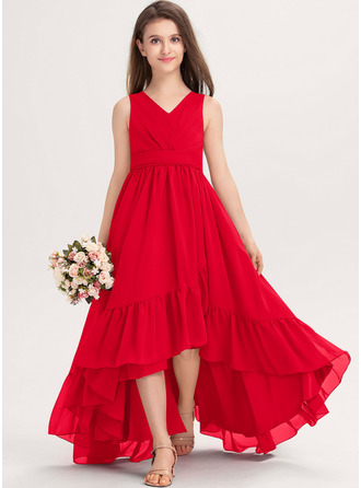 A-Line V-neck Asymmetrical Chiffon Junior Bridesmaid Dress With Bow(s) Cascading Ruffles