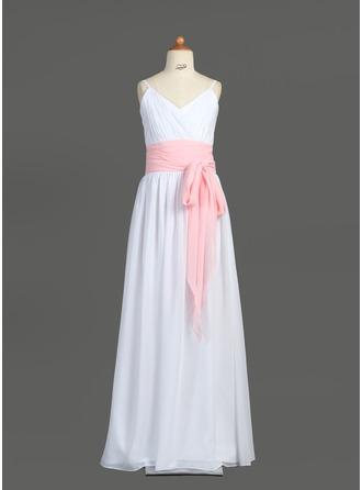 A-Linie/Princess-Linie V-Ausschnitt Bodenlang Chiffon Kleid für junge Brautjungfern mit Rüschen Schleifenbänder/Stoffgürtel Schleife(n)
