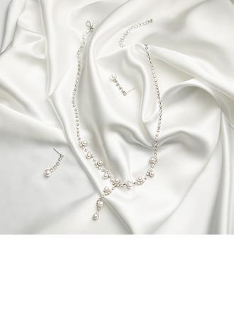 Encanto Diamantes de imitación con Perla Señoras' Sistemas de la joyería