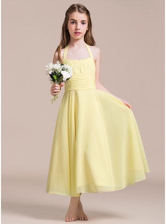 Vestidos princesa/ Formato A Cabresto Longuete Tecido de seda Vestido de daminha júnior com Pregueado