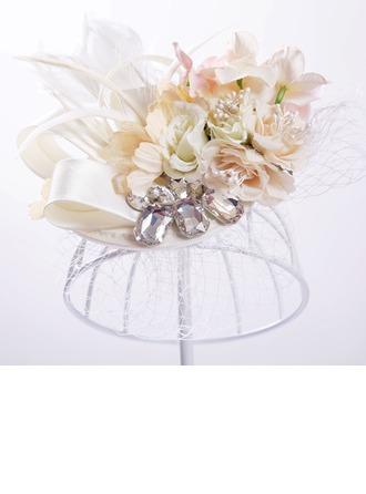 Señoras Pretty Seda artificiales/Tul Flores y plumas