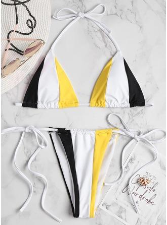Sexy Stripe Trekant Polyester Elastan Bikinis Badedrakt