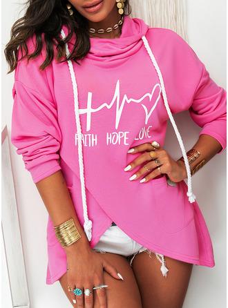 Figure Print Heart Hoodie Long Sleeves Casual Blouses