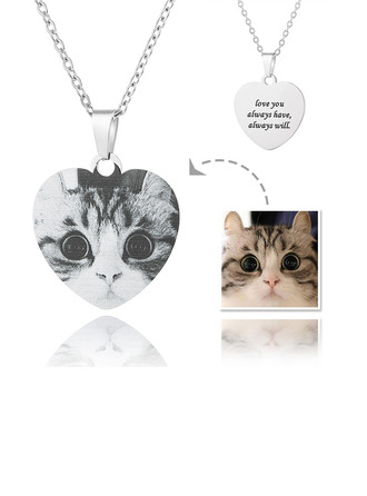Custom Silver Heart Engraving/Engraved Black And White Photo Necklace - Mother's Day Gifts