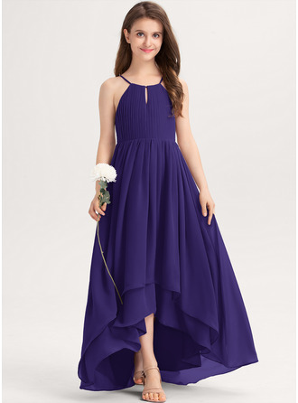 A-Line Scoop Neck Asymmetrical Chiffon Junior Bridesmaid Dress With Ruffle Bow(s)