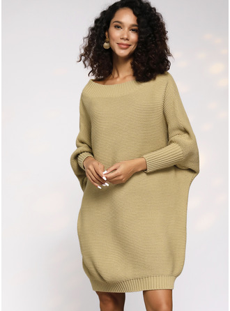 Round Neck Polyester Long Sleeves Solid/Chunky knit/Waffle Knit Sweater Dress Fashion Dresses