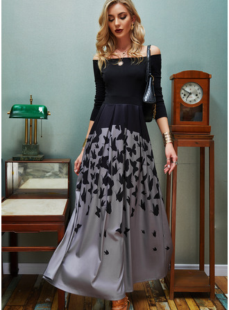 Animal Print A-line Long Sleeves Maxi Elegant Skater Dresses