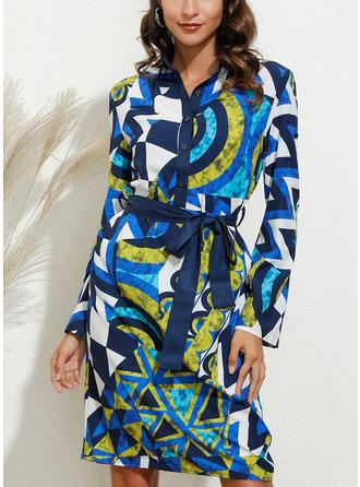 Geometric Print Sheath Short Sleeves Midi Casual Shirt Dresses