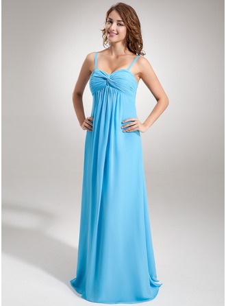 Empire Sweetheart Floor-Length Chiffon Chiffon Maternity Bridesmaid Dress With Ruffle