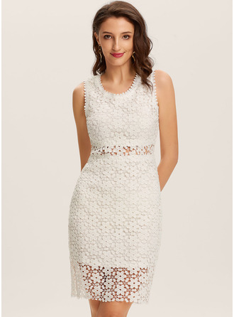 Knee Length Round Neck Polyester Lace/Solid Sleeveless Fashion Dresses