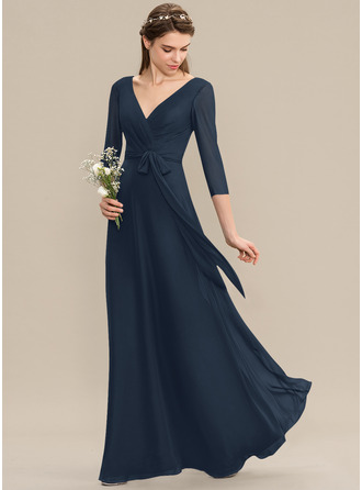 A-Line V-neck Floor-Length Chiffon Bridesmaid Dress With Ruffle Bow(s)