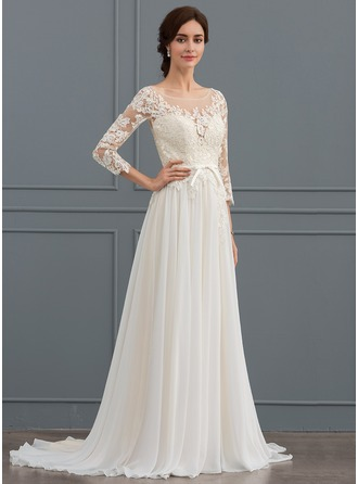 A-Line/Princess Scoop Neck Sweep Train Chiffon Lace Wedding Dress With Bow(s) Split Front