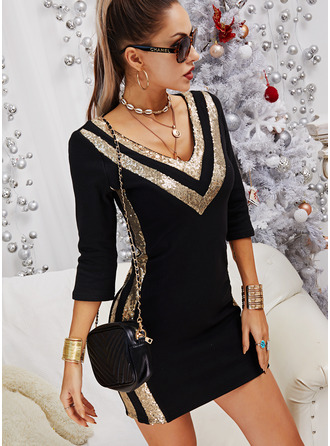 Color Block Sequins Bodycon Long Sleeves Mini Elegant Dresses