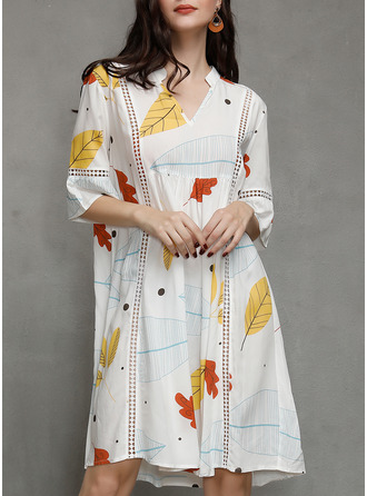 Print Shift 3/4 Sleeves Flare Sleeve Midi Casual Tunic Dresses