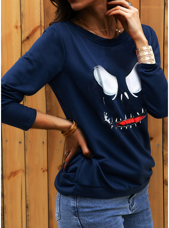 Print Halloween One Shoulder Long Sleeves Sweatshirt