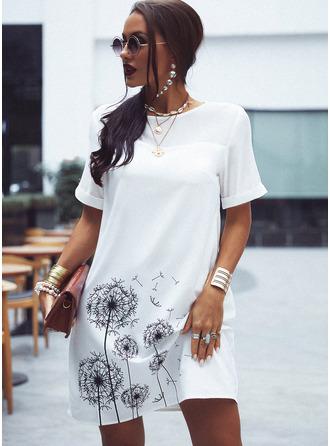 Imprimé Coupe droite Manches Courtes Mini Décontractée Tunique Robes tendance