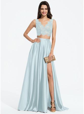 A-Line V-neck Floor-Length Satin Prom Dresses With Split Front