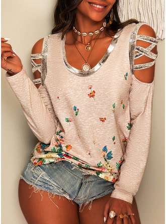 Floral Print Cold Shoulder Long Sleeves Casual Blouses